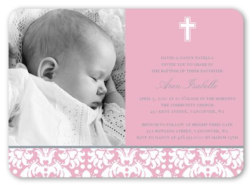 Baptism Baroque Pink Baptism Invitation by Petite Lemon