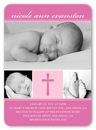 Modern Cross Pink Baptism Invitation by Petite Lemon