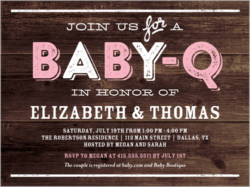 baby q party girl 4x5 greeting card baby shower invitations