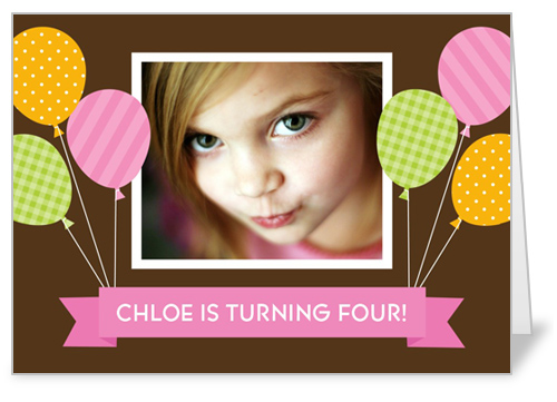Banner Balloons Pink Birthday Card by Stacy Claire Boyd