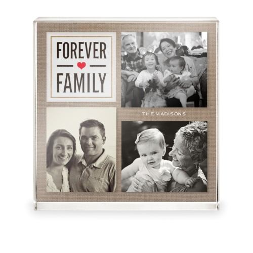 Textured Forever Family Acrylic Block, 5 x 5 inches, Beige