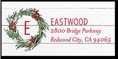 wood frame monogram address label
