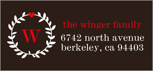 Wreathed Monogram Address Label
