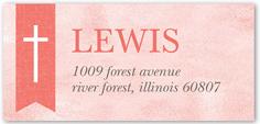 cross ribbon girl address label