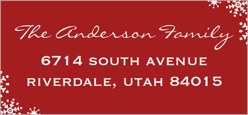 Snow Flourish Scarlet Address Label