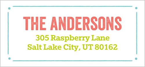 Bright Colored Type Address Label