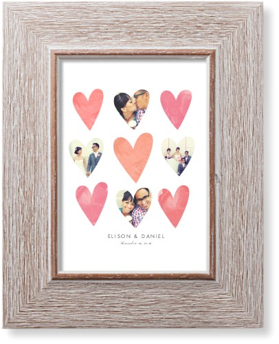 Heart Collage Art Print, Rustic, Pearl Shimmer Card Stock, 5x7, Pink
