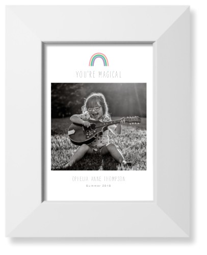 Emoji Rainbow Art Print, White, Pearl Shimmer Card Stock, 5x7, Grey