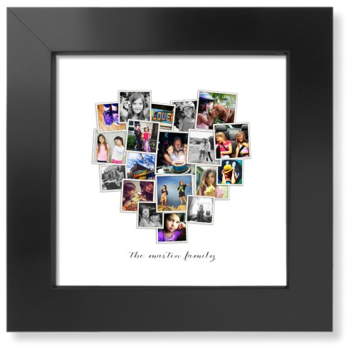 Tilted Heart Collage Art Print, Black, Signature Card Stock, 8x8, White