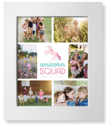 Emoji Unicorn Squad Art Print, White, Signature Card Stock, 8x10, Pink