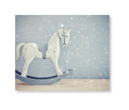 Wooden Rocking Horse Art Print, None, Pearl Shimmer Card Stock, 8x10, Multicolor