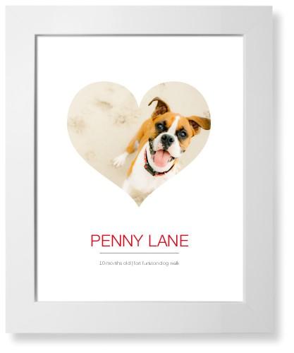 Modern Heart Art Print, White, Pearl Shimmer Card Stock, 11x14, White