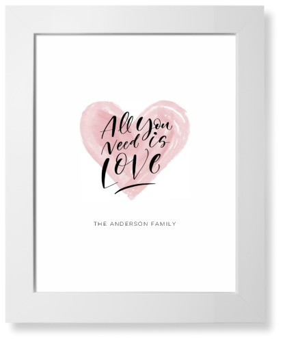 All You Need Is Love Watercolor Art Print, White, Pearl Shimmer Card Stock, 11x14, White