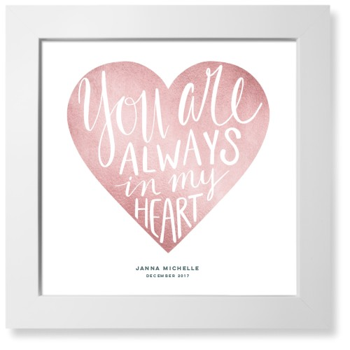 Princess Always In My Heart Art Print, White, Pearl Shimmer Card Stock, 12x12, Pink