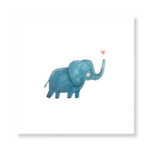 Elephant Watercolor Art Print, None, Pearl Shimmer Card Stock, 12x12, Multicolor