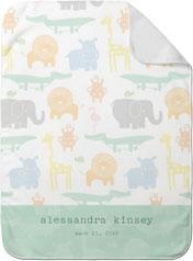 zoo safari baby blanket