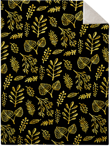 Black Floral Fleece Photo Blanket