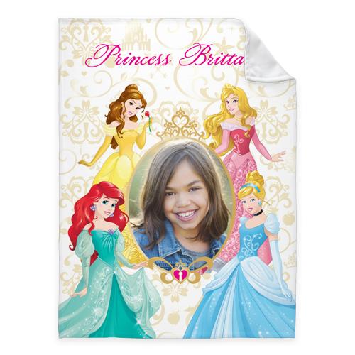 Disney Princesses Fleece Photo Blanket, Fleece, 60 x 80, Yellow