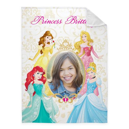 Disney Princesses Fleece Photo Blanket, Plush Fleece, 60 x 80, Yellow