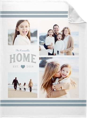 Happy Home Collage Fleece Photo Blanket, Fleece, 60 x 80, Grey