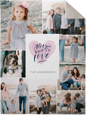 all you need is love watercolor collage fleece photo blanket