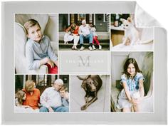 monogram match collage fleece photo blanket