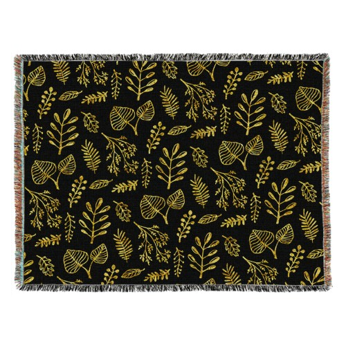 Black Floral Woven Photo Blanket, 54 x 70, Multicolor