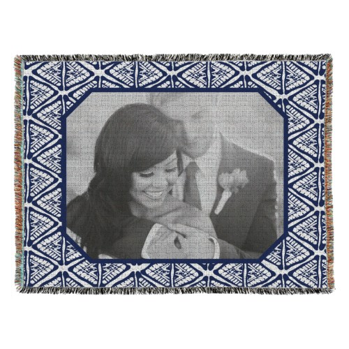 Tribal Frame Woven Photo Blanket, 54 x 70, Blue