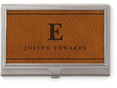 classic leather monogram business card holder