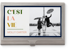 modern cest la vie business card holder