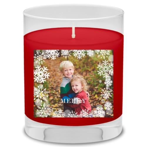 Bokeh Snowflakes Candle, Fireside Spice, White