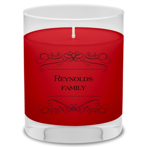 Flourished Family Candle, Fireside Spice, Black