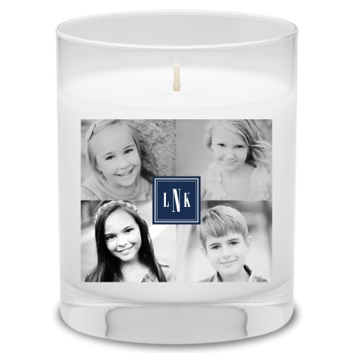 Timeless Border Monogram Candle, Uncscented, Blue