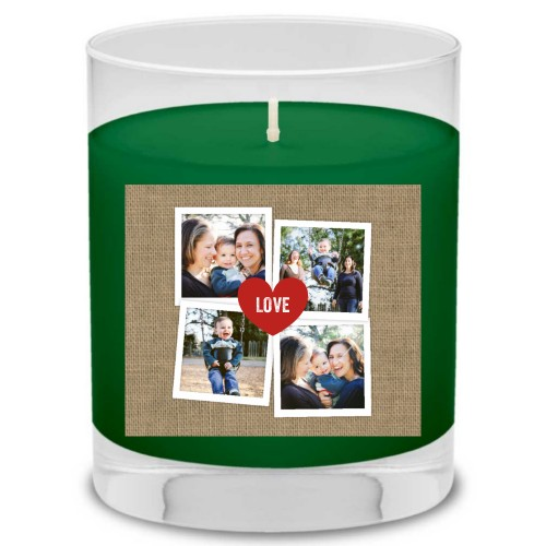 Heart Burlap Candle, Evergreen Forest, Beige