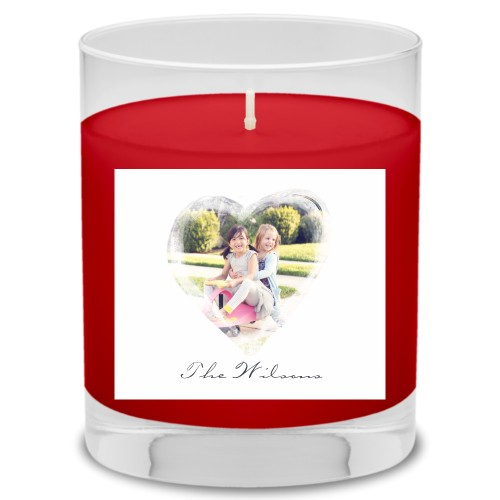 Brushed Heart Candle, Fireside Spice, White
