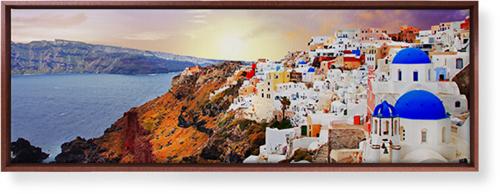 Sunset in Santorini Greece Canvas Print, Brown, Single piece, 12 x 36 inches, Multicolor