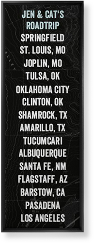 Our Travels Panoramic Canvas Print, Black, Single piece, 12 x 36 inches, Black