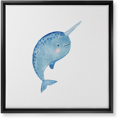 Narwhal Watercolor Canvas Print, Black, Single piece, 16 x 16 inches, Multicolor