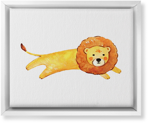 Lion Watercolor Canvas Print, White, Single piece, 8 x 10 inches, Multicolor