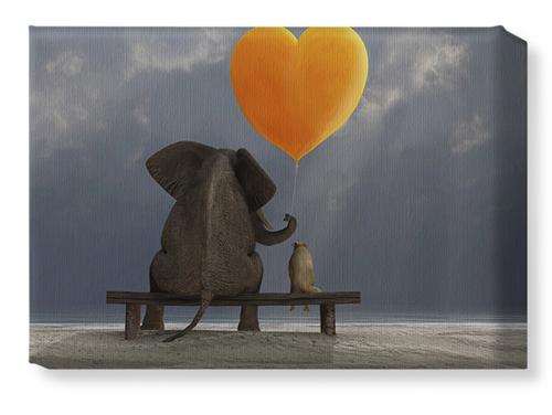 Elephant Heart Balloon Canvas Print, None, Single piece, 10 x 14 inches, Multicolor