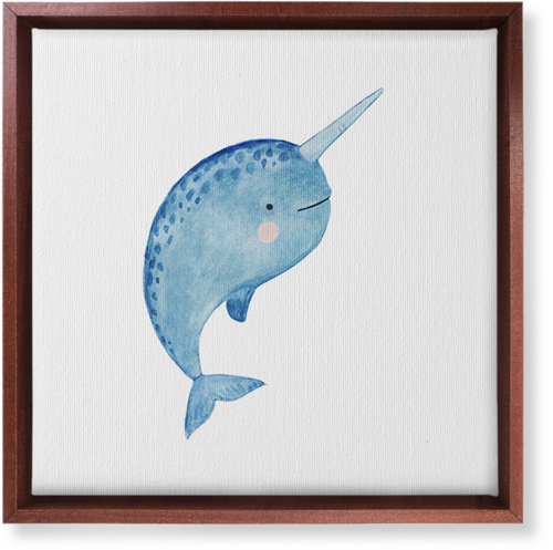 Narwhal Watercolor Canvas Print, CANVAS_FRAME_BROWN, Single piece, 12 x 12 inches, Multicolor