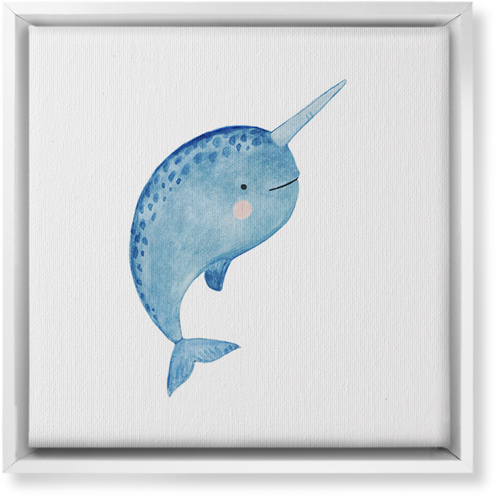 Narwhal Watercolor Canvas Print, White, Single piece, 12 x 12 inches, Multicolor