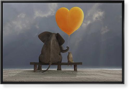 Elephant Heart Balloon Canvas Print, CANVAS_FRAME_BLACK, Single piece, 24 x 36 inches, Multicolor