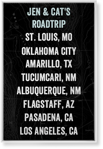 Our Travels Canvas Print, White, Single piece, 24 x 36 inches, Black