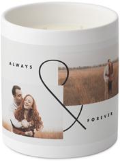 modern ampersand ceramic candle