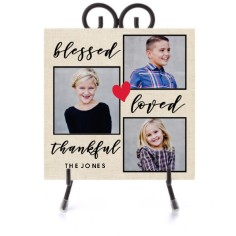 blessed loved thankful script ceramic tile