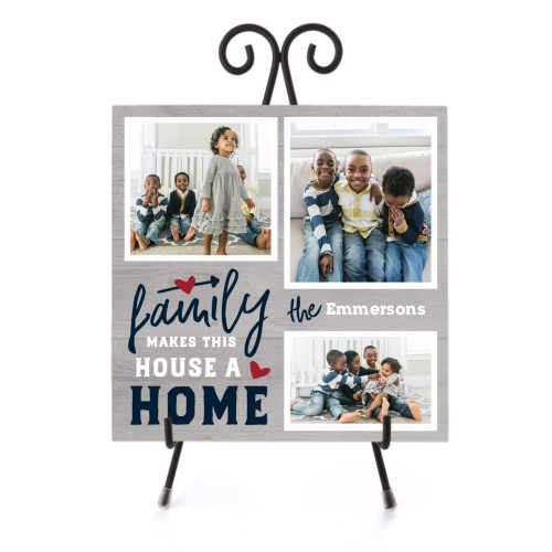 Family Makes a Home Ceramic Tile, glossy, 8x8, Blue