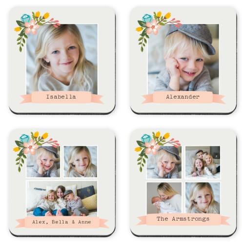 Floral Frame Coaster, Grey