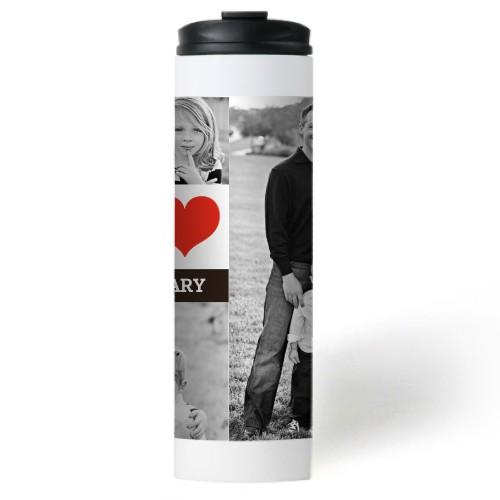 I Heart You Stainless Steel Travel Mug, White,  , 20oz, Red