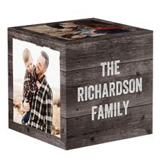 weathered wood photo cube